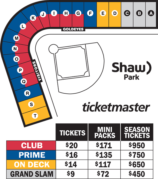 Ballpark Map and Ticket Prices: goldeyes.com/tickets