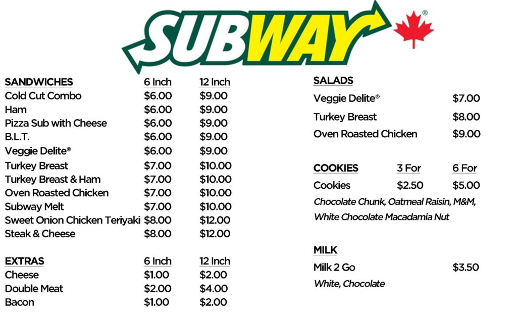 Subway Menu 2019