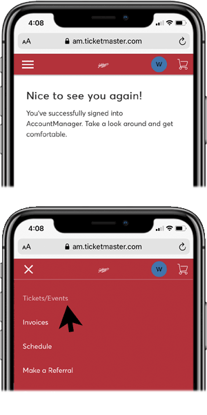 Access Your Tickets - Step 1