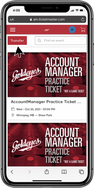 Transfer Your Tickets - Step 2