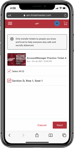 Transfer Your Tickets - Step 4