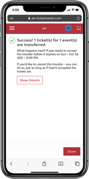Transfer Your Tickets - Step 6